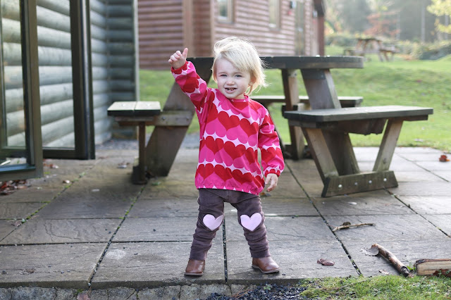 pink heart top and velour trousers with heart knee patches for baby - toddler - children from me&i