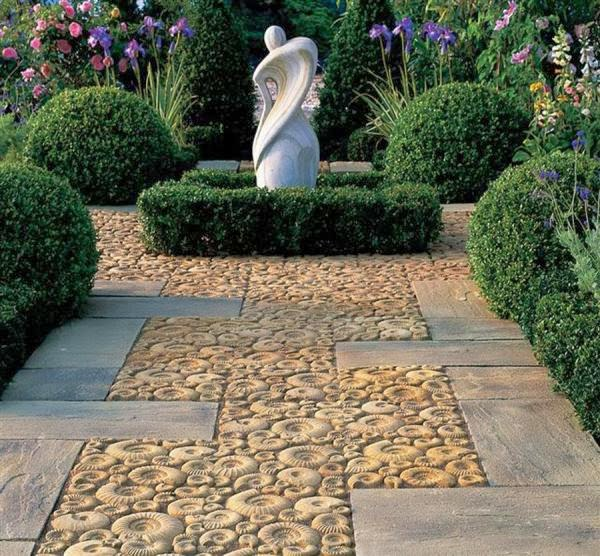 stone patio with fossil effect