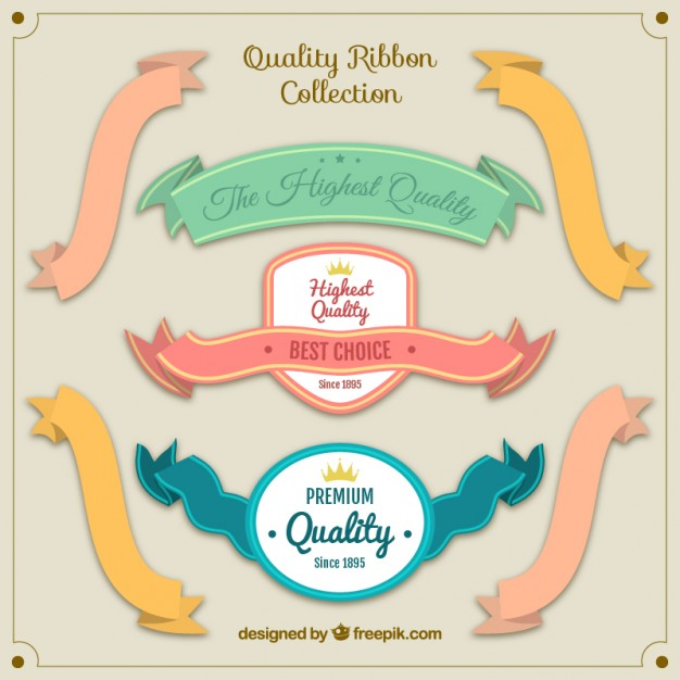 Cute quality vintage ribbon collection Free Vector