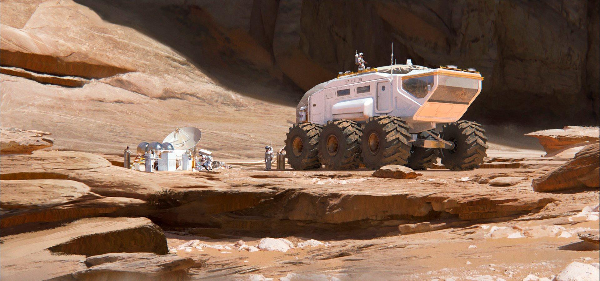 human Mars Mars rover by Florent Lebrun