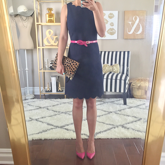 5c5d1996547a Scalloped Dress (00p) // Kate Spade pumps (similar HERE and HERE) // Leopard  Clutch // J.Crew Pink Belt (similar HERE)