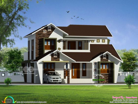 1959 square feet 4 bedroom sloping roof modern home plan