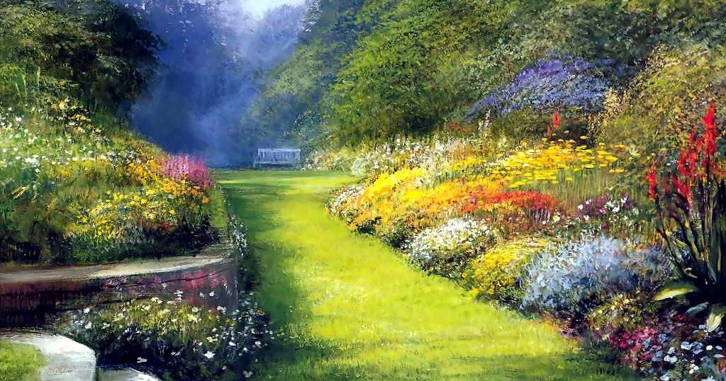 Mon jardin fleuri peinture beau jardin peintre inconnu - Paisajes y jardines ...
