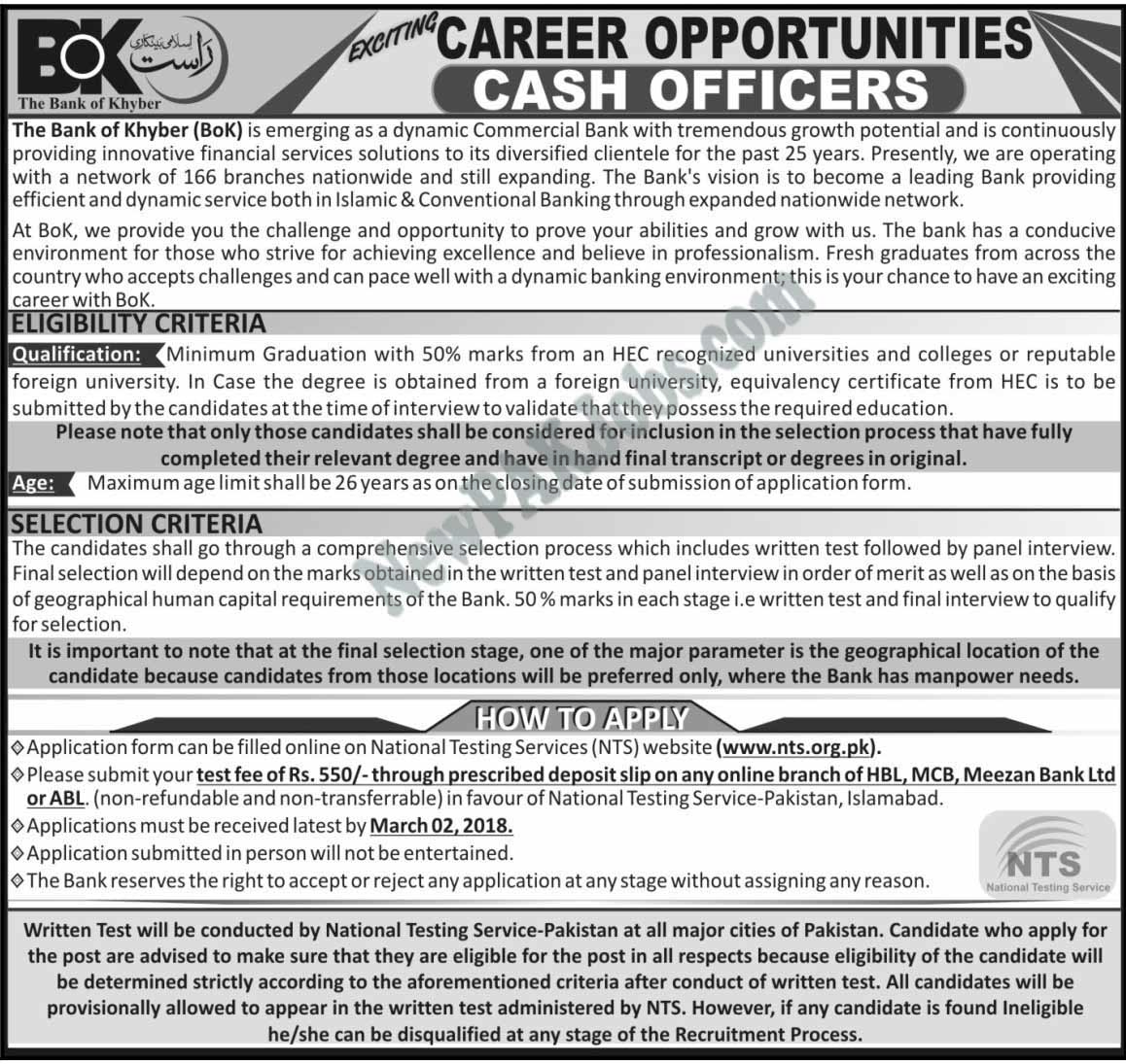 Cash Officer Jobs in BOK Bank of Khyber, Selection via NTS