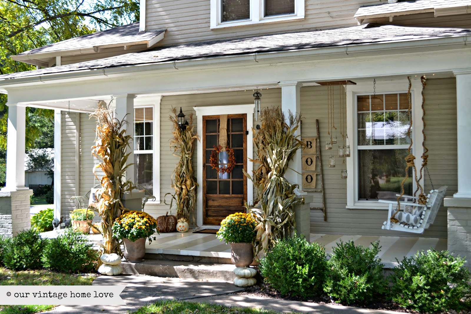 Our vintage home love fall porch ideas for Covered front porch plans