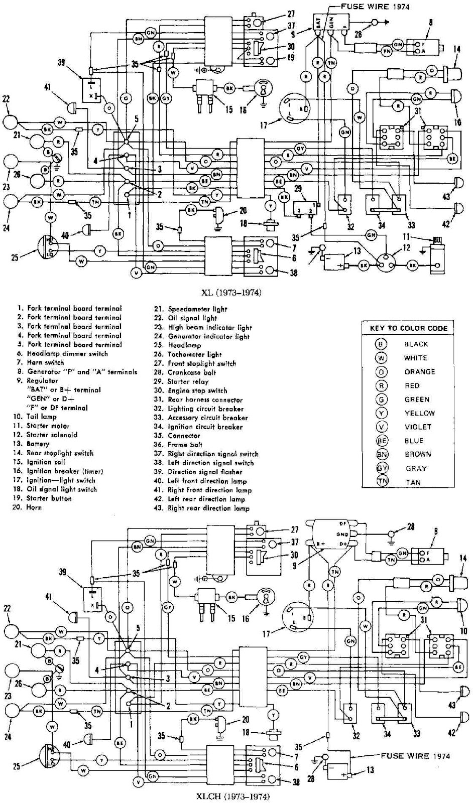 harley davidson xl-xlch 1973-1974 motorcycle electrical ... 2003 harley davidson wiring diagrams harley davidson electrical diagrams