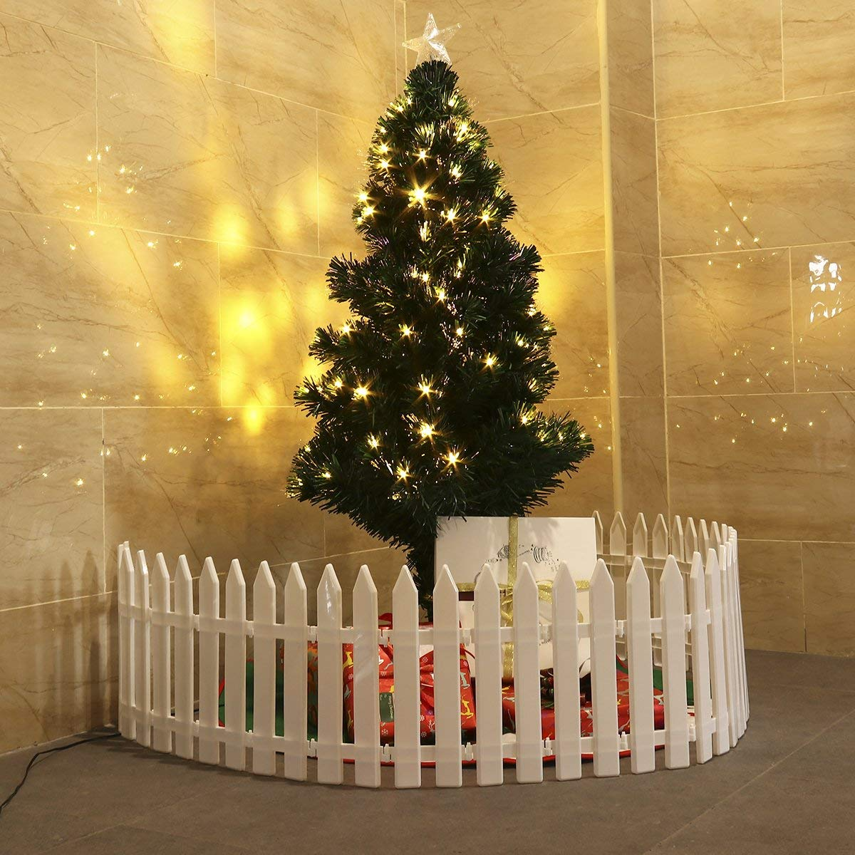 christmas tree fence, baby and christmas tree, baby's first christmas, christmas tree