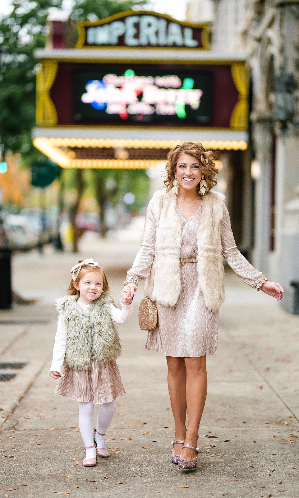 Mommy and Me Festive in Metallic Pink + Gift Guide for Kids - Something Delightful Blog