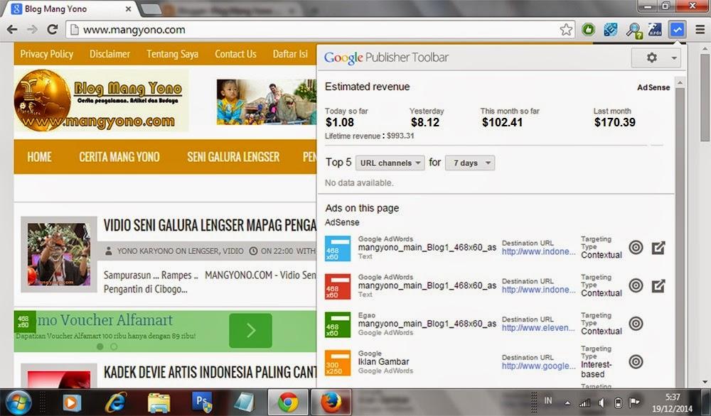 Ini penghasilan Google Adsense saya yang saya buka di Google Publisher Toolbar di pojok kanan atas Google Chrome