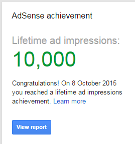 First 10,000 Impressions on Google Adsense Dashboard