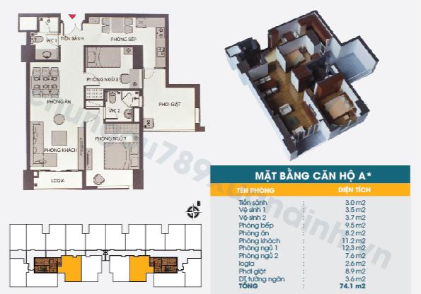 Diện tích căn hộ loại A+ : 74,10m2