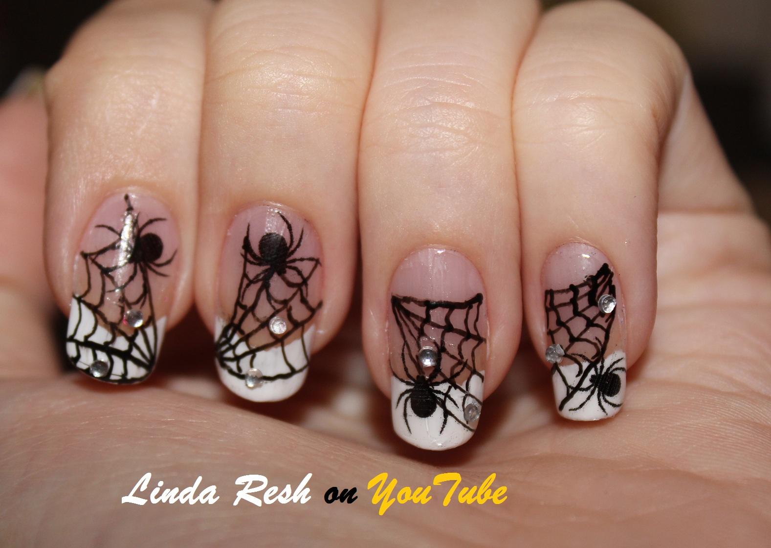 Spider On Web. Nail Art Pen