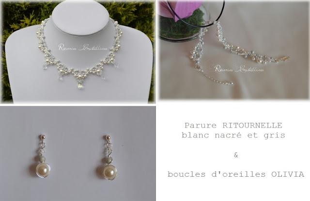 parure mariée collier bracelet et boucles d'oreilles
