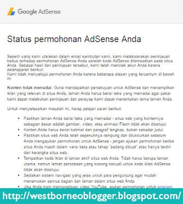 Permohonan Adsense Yang Gagal - West Borneo Blogger