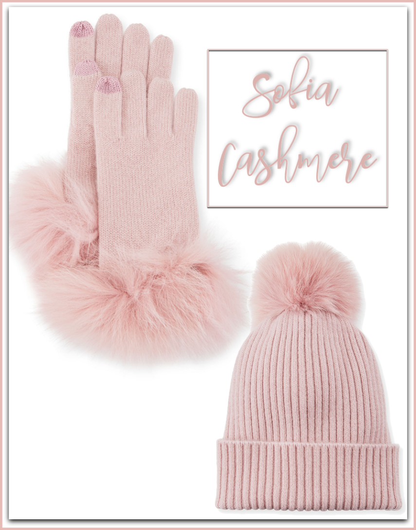 Sofia Cashmere Cashmere Gloves w/ Fur Cuffs and Beanie (sold separately)