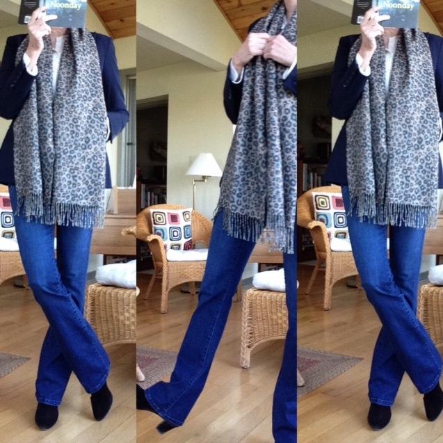 Veronica Beard navy jacket, Current Elliot jeans, cream silk Equipment blouse, brown suede Prada booties, Holt Renfrew animal print scarf