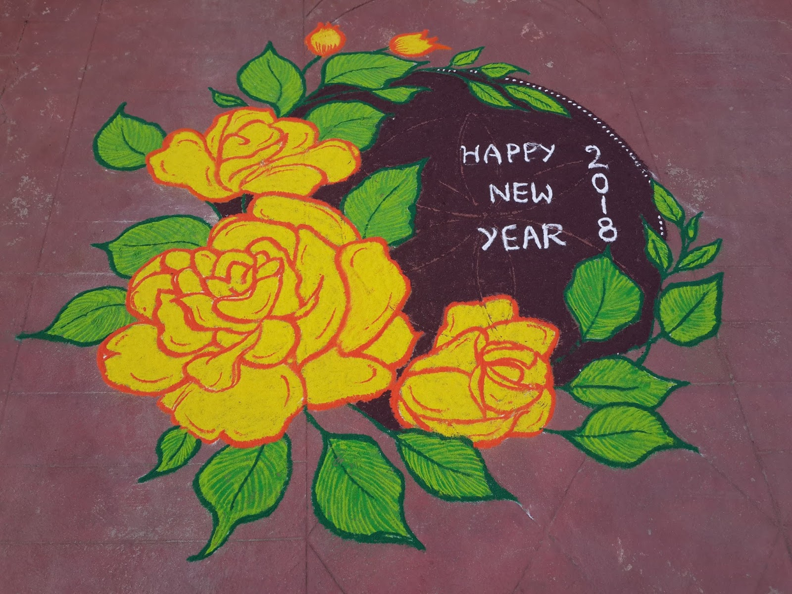 Happy New Year Rangoli 20