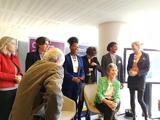 Group photo of John Burningham, Diana Gerald, Anthony Browne, Floella Benjamin, Nicolette Jones, Joe Coelho and Lauren Child