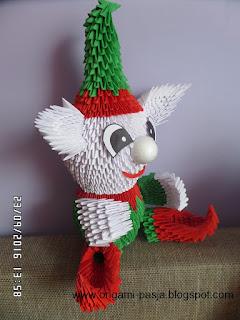 origami, święta, mikołaj, elf, z papieru, czerwony, zielony,