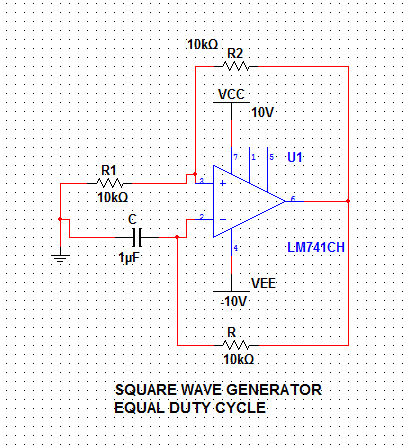 square wave generator using op amp ic 741 electronics. Black Bedroom Furniture Sets. Home Design Ideas