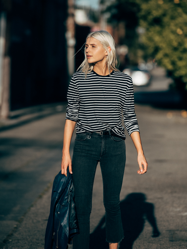 f8fa94d9c03 ... with my favorite striped tee and this rad blue leather biker for a pop  of unexpected color. What do you think? Would you rock cropped bootcut jeans ??