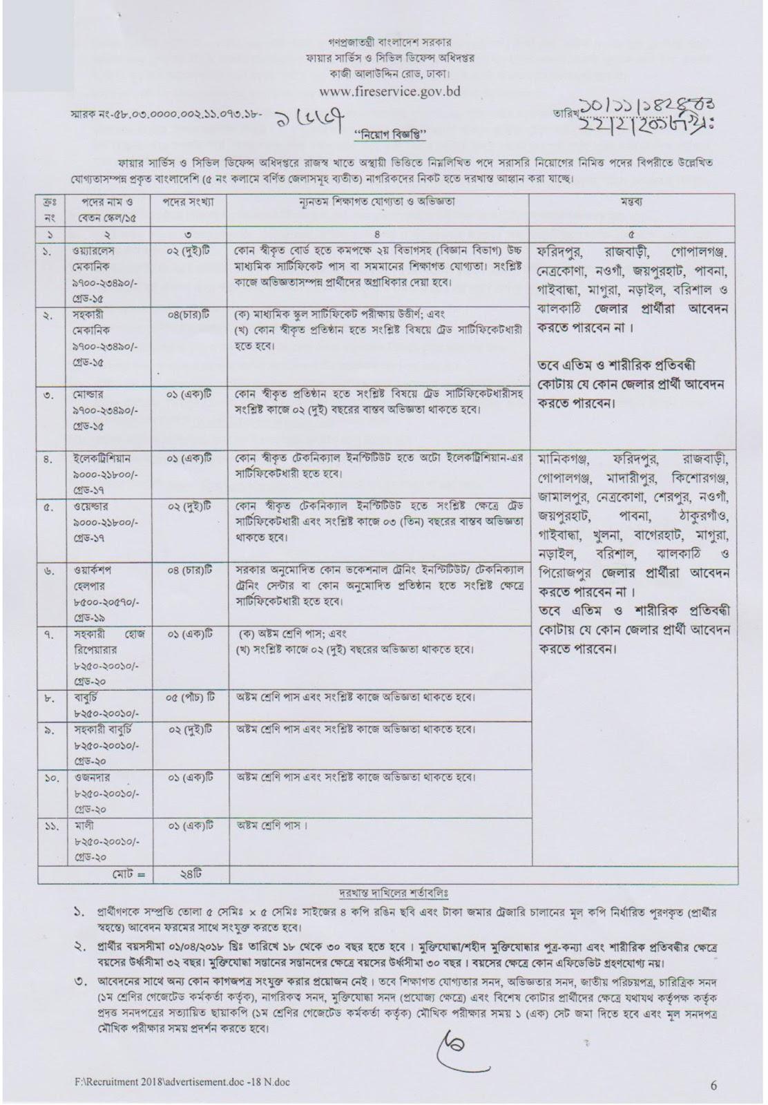 Bangladesh Fire Service and Civil Defense (FSCD) Job Circular 2018
