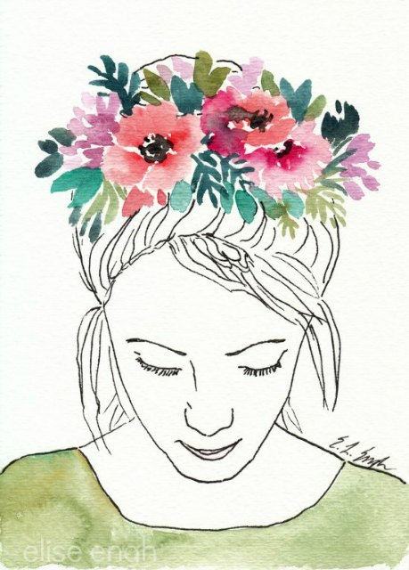 Watercolor and Ink girl with flowers by Elise Engh: grow creative blog