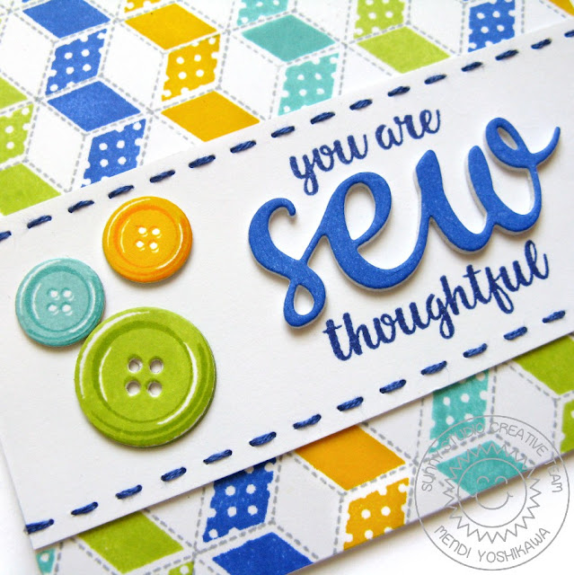 Sunny Studio Stamps: Quilted Hexagons & Cute As A Button Sew Thoughtful Card by Mendi Yoshikawa