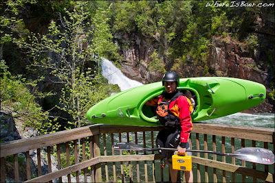 Bryan Kirk with a prototype Recon at the base of Tallulah falls, GA Georgia, Chris Baer, Fest, kayak