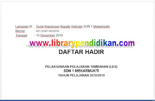 Lampiran III Skat Daftar Hadir, http://www.librarypendidikan.com/