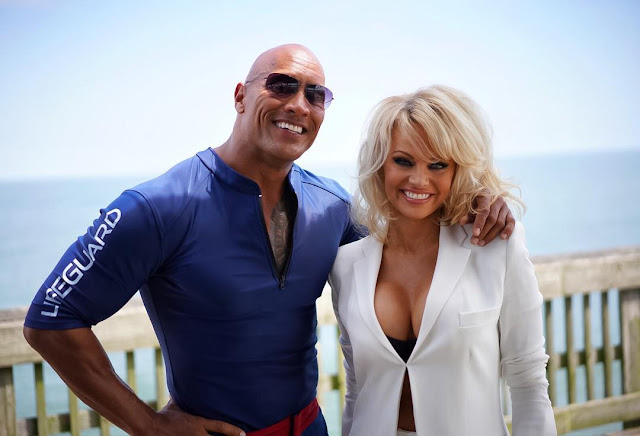Pamela Anderson and the rock, the cast of the new Baywatch movie.