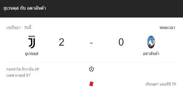 แทงบอล ไฮไลท์ เหตุการณ์การแข่งขันระหว่าง ยูเวนตุส vs อตาลันต้า