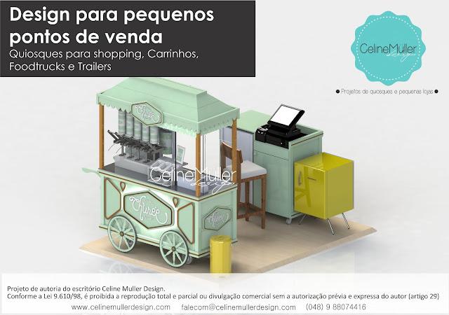 Carrinho Vintage para venda de churros desenvolvido pela especialista em projetos comerciais Celine Aparecida Muller...