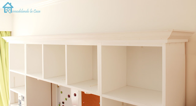 how to add crown molding to bookcase in girl room