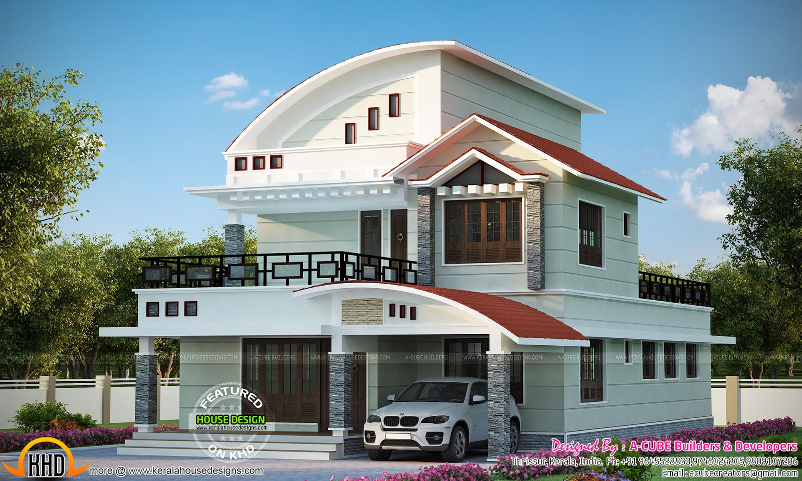 2397 sq ft curved roof mix house kerala home design and for Car porch designs for houses