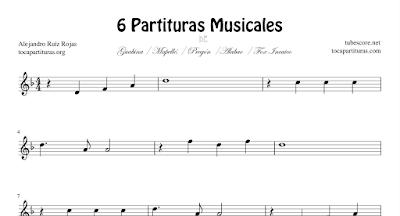 6 Partituras de Guabina, Mapelé, Pregón, Alabao y Fox Incaico, Ahogada Mujer, Santandereana Nº2, Prende la Vela, El Yerberito y El Mauri con Acordes