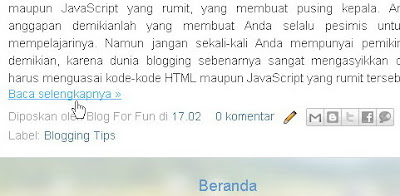 CARA PASANG 'Read More ' di BLOG