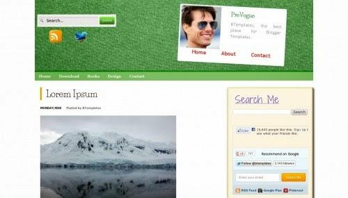 PreVogue green simple blogger templates 2014 for blogger or blogspot