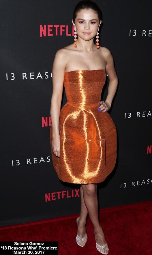 Selena Gomez Stuns At '13 Reasons Why' Premiere In Sexy Orange Bubble Dress