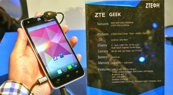 Smartphone Zte Geek, OS Android Prosesor Intel