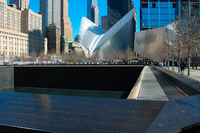 9/11 Memorial Fountain w/ Eagle structure in the background