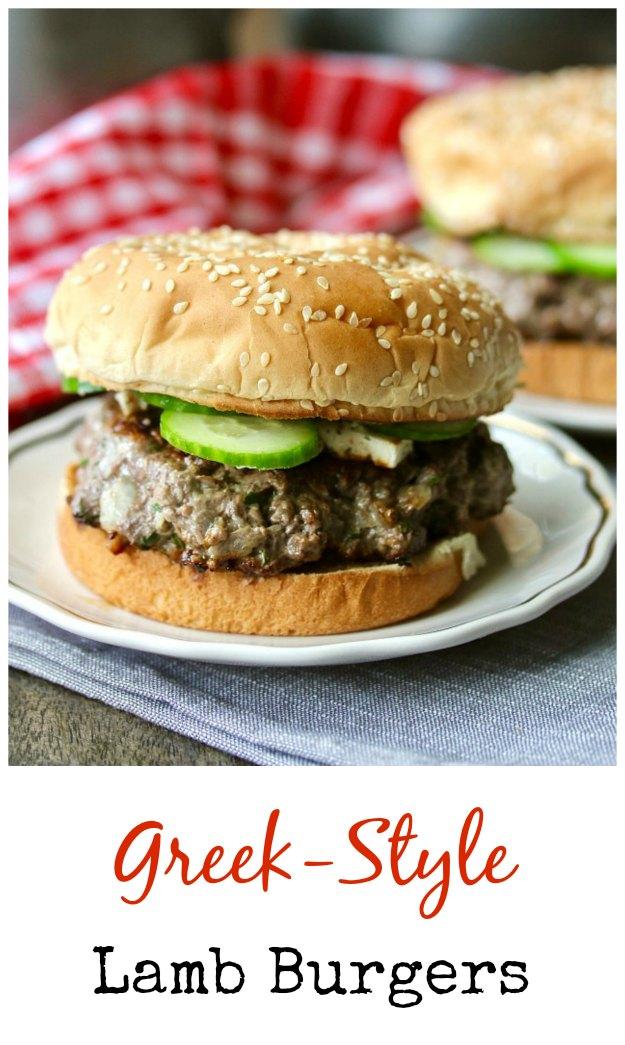 Greek-style Lamb Burgers with Tzatziki Sauce #burger
