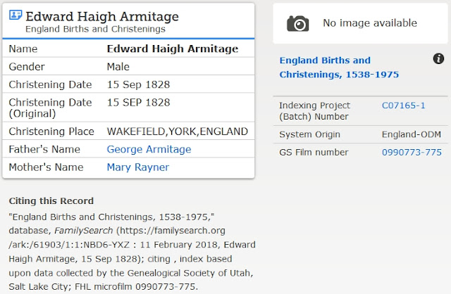 FamilySearch Armitage search results details for Edward Haigh Armitage