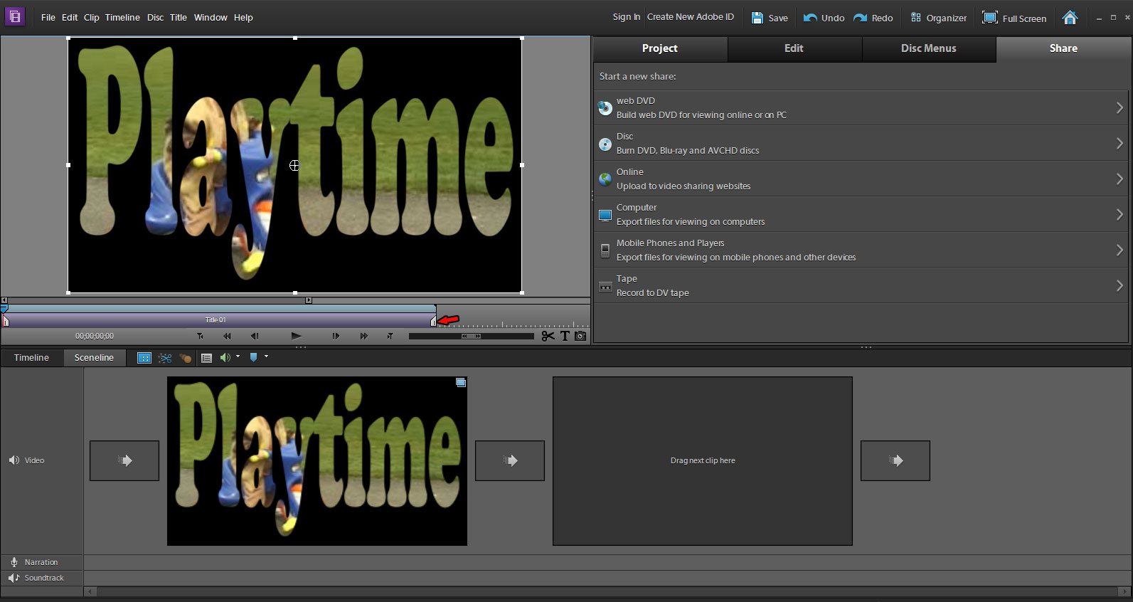 Premiere Elements 10 Windows Sceneline Workspace - Putting Video In Title.