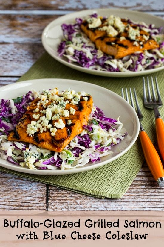 Buffalo-Glazed Grilled Salmon with Blue Cheese Coleslaw (Low-Carb, Gluten-Free) found on KalynsKitchen.com