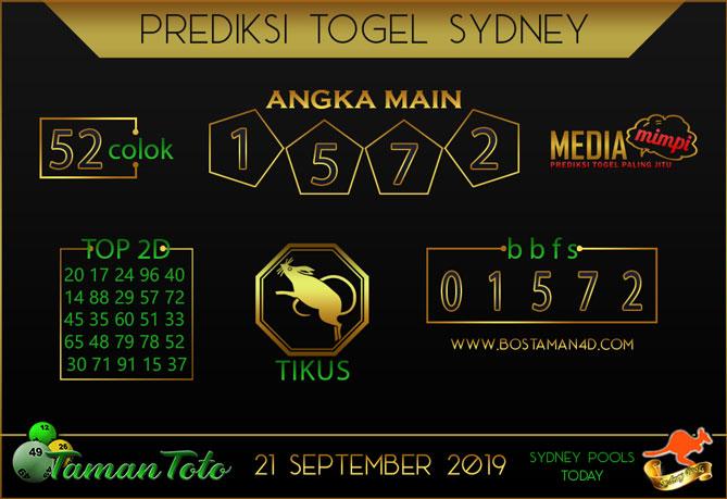 Prediksi Togel SYDNEY TAMAN TOTO 21 SEPTEMBER 2019