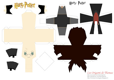Template d'Harry Potter en Papercraft origami