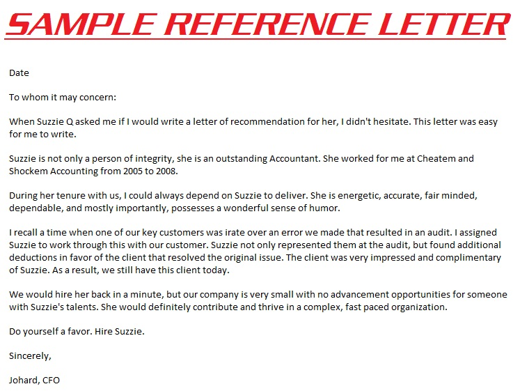 Reference Letters 3000: Example Reference Letter