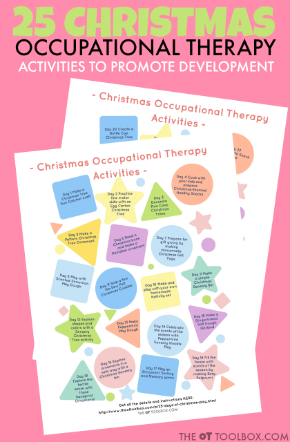 Christmas themed Occupational Therapy activities to develop and promote function and independence in skills like fine motor skills, balance, sensory processing, visual processing, eye-hand coordination, and more.