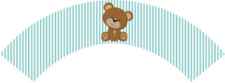 Toppers or Teddy Bear for Boys Free Printable Wrappers Cupcake.